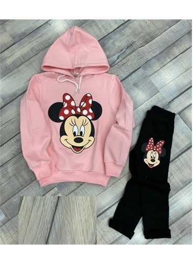 Riccotarz Kız Çocuk Sevimli Minnie Mouse Pudra Taytlı Takım Renkli